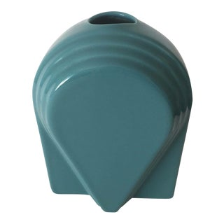 1980's Vintage Post Modern Memphis Style Aqua Ceramic Vase