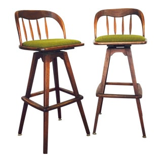 Mid Century Wood Bar Stools - A Pair
