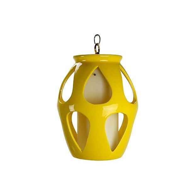 Mid-Century Modern Yellow Ceramic Pendant - Image 4 of 5