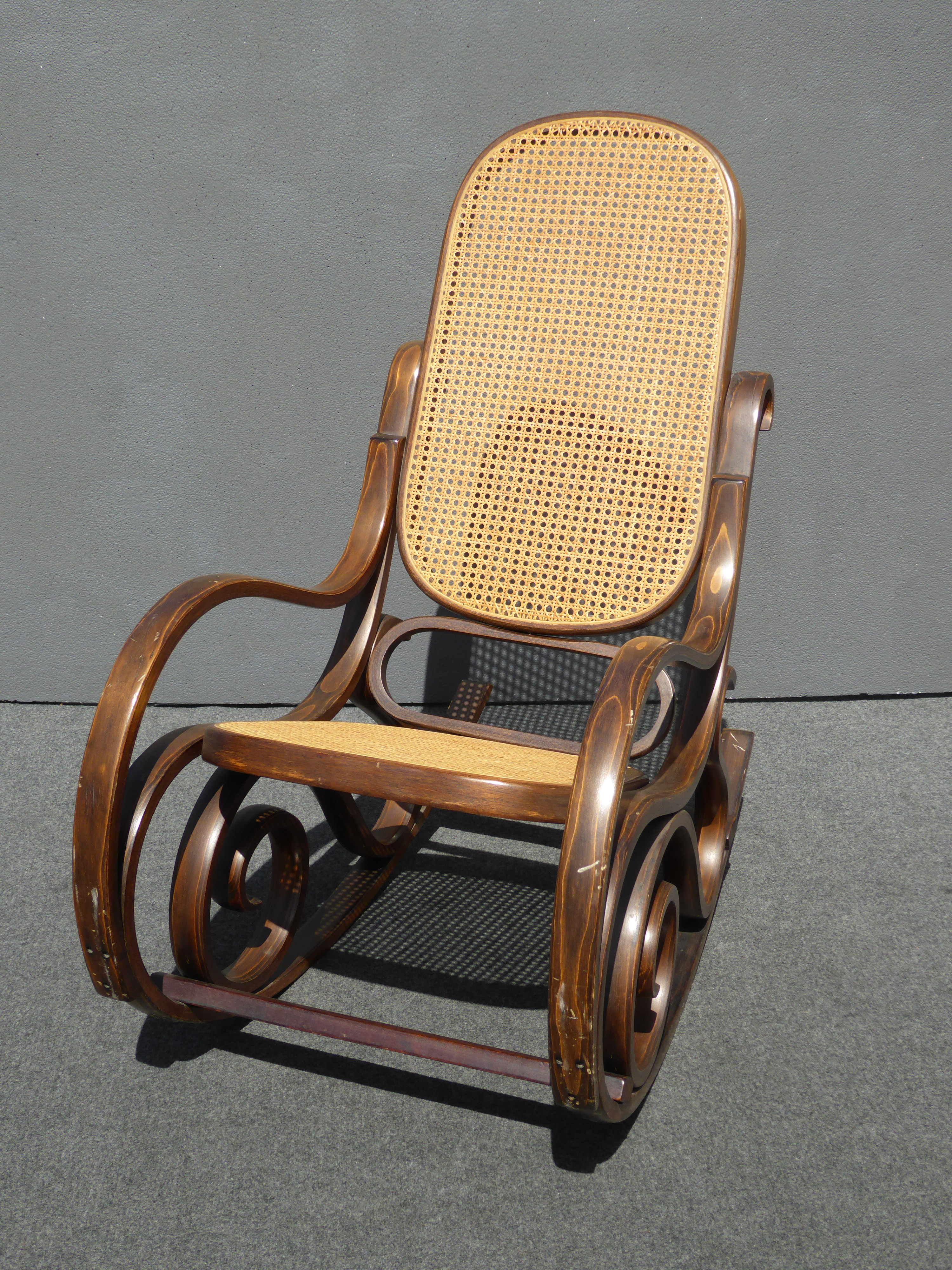 Beautiful Bentwood Cane Back Rocking Chair In The Style Of Michael Thonet   Image 4  Of 11