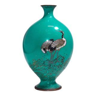 Meiji Period Turquoise Japanese Cloisonné Vase