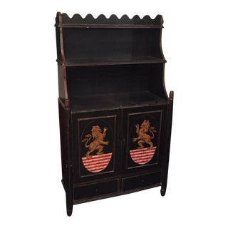 English Black Lacquered Bookcase
