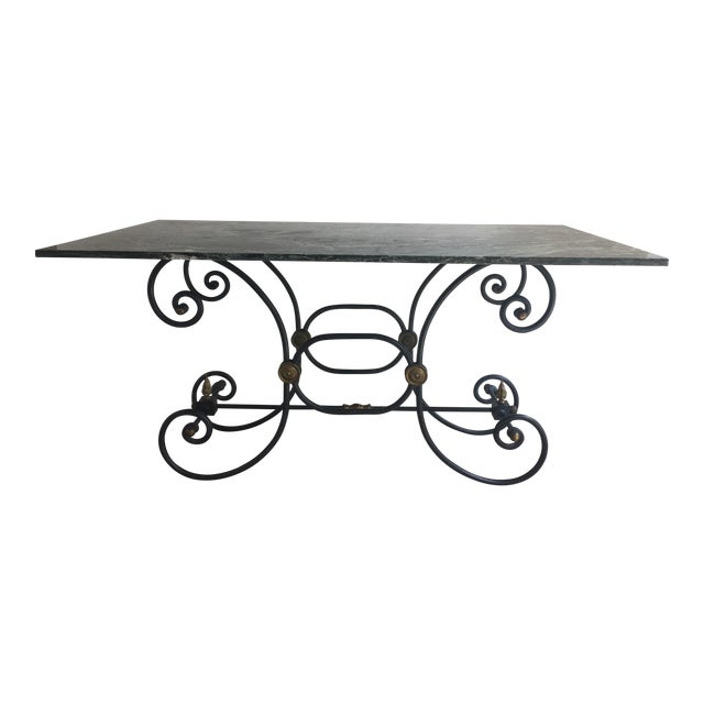 French Iron Marble Topped Table - Image 1 of 9