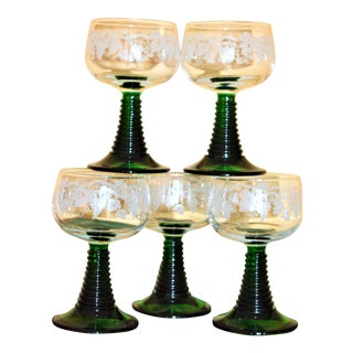 German Roemer Stem Glasses - Set of 5