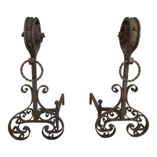 19th C. French Iron Andirons - A Pair