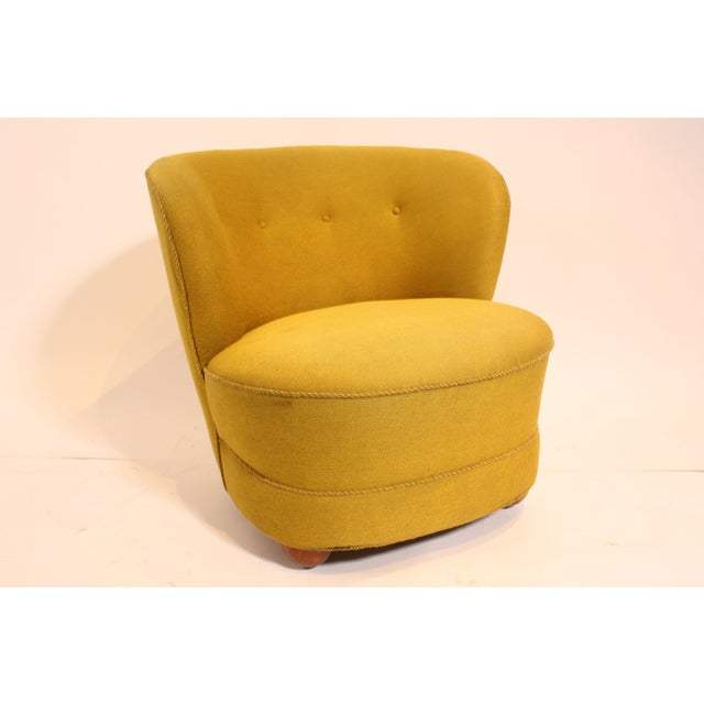 1940s Chartreuse Slipper Chair - Image 2 of 7