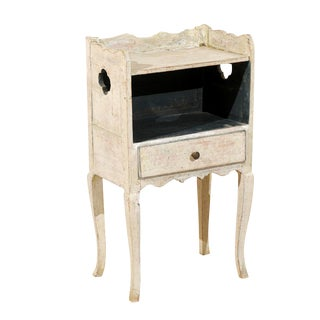 Swedish 18th Century Single Drawer Bedside Table with Original Paint