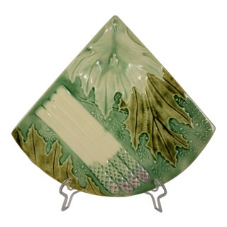 French Faïence Barbotine Majolica Fan Shaped Asparagus Plate