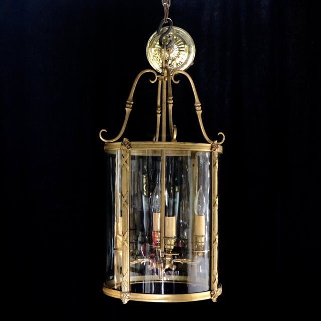 French Style Glass Hanging Lamp - Image 4 of 7