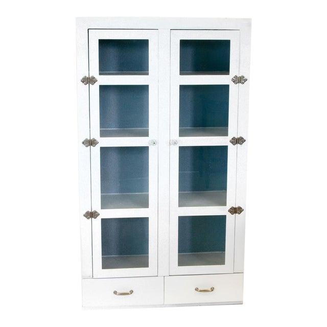 Vintage Primitive White Cottage Style Glass Door Cabinet / Cupboard - Image 1 of 6
