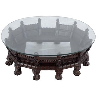 Low Profile Peacock Carved Wooden Oval Coffee Table