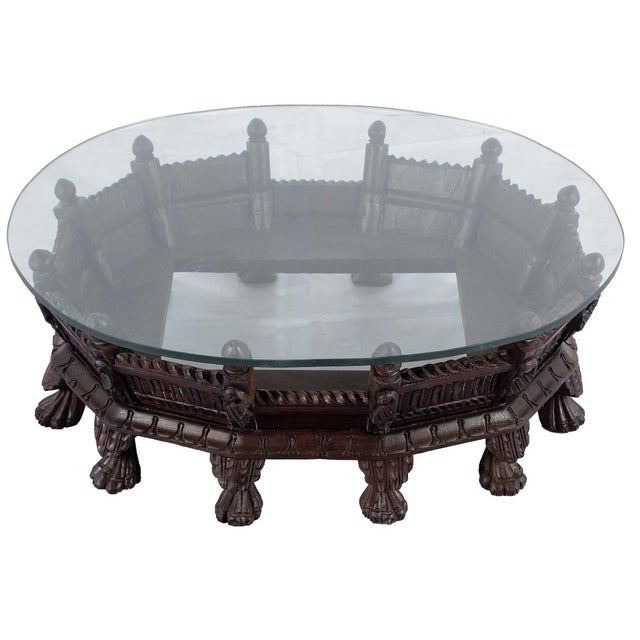 low profile peacock carved wooden oval coffee table chairish. Black Bedroom Furniture Sets. Home Design Ideas