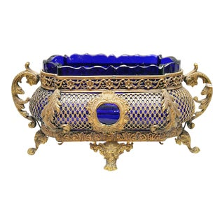 Antique Cobalt Glass & Bronze Cache Pot