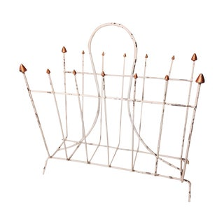 Distressed White Metal Magazine Rack