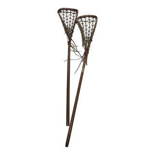 Vintage Sports Decor Lacrosse Sticks - A Pair