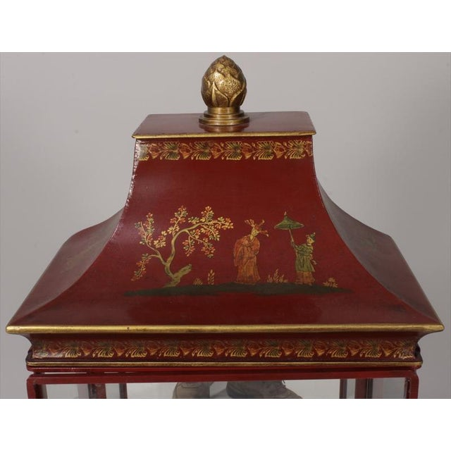 Chinoiserie Red Painted Tole Hanging or Standing Shelf - Image 3 of 5