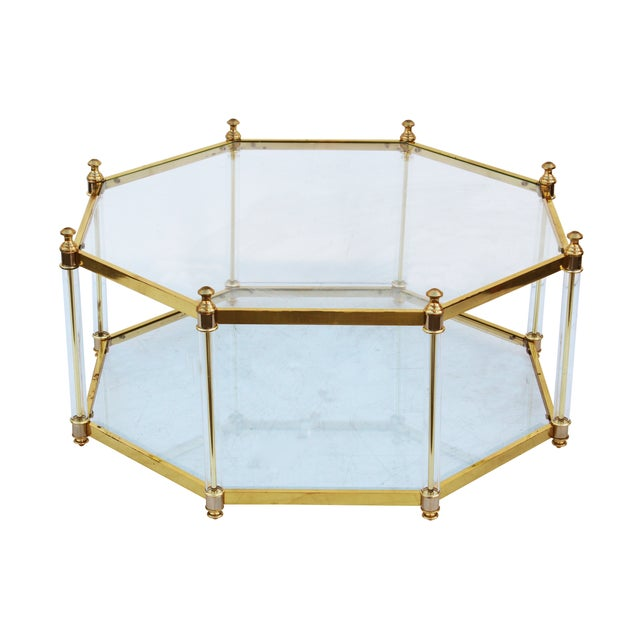 Octagonal lucite and brass coffee table chairish for Lucite and brass coffee table