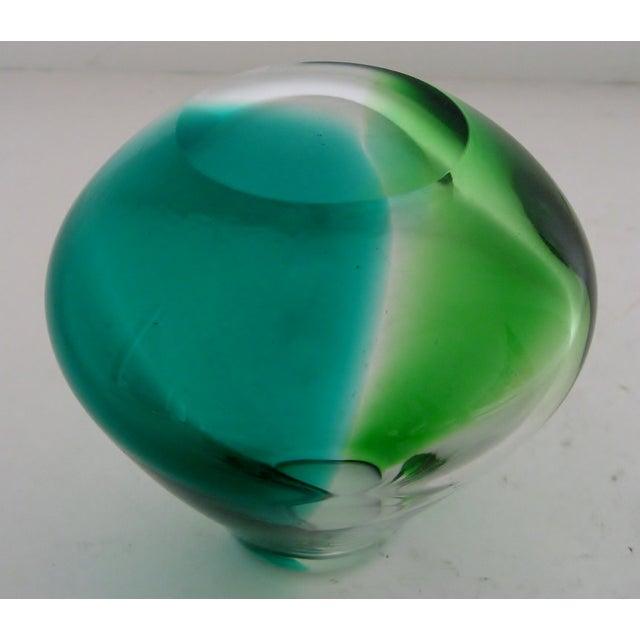 Erickson Vintage Blue & Green Glass Vase - Image 6 of 6