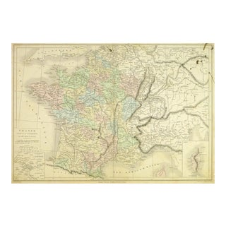 Antique Map of France, 1860