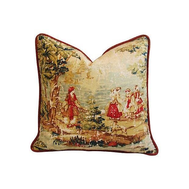 Romantic Custom Renaissance Toile Pillows - Pair - Image 3 of 6