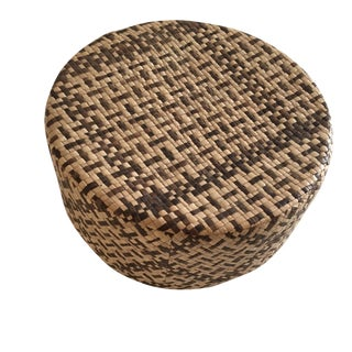 Vintage Woven African Round Box With Lid