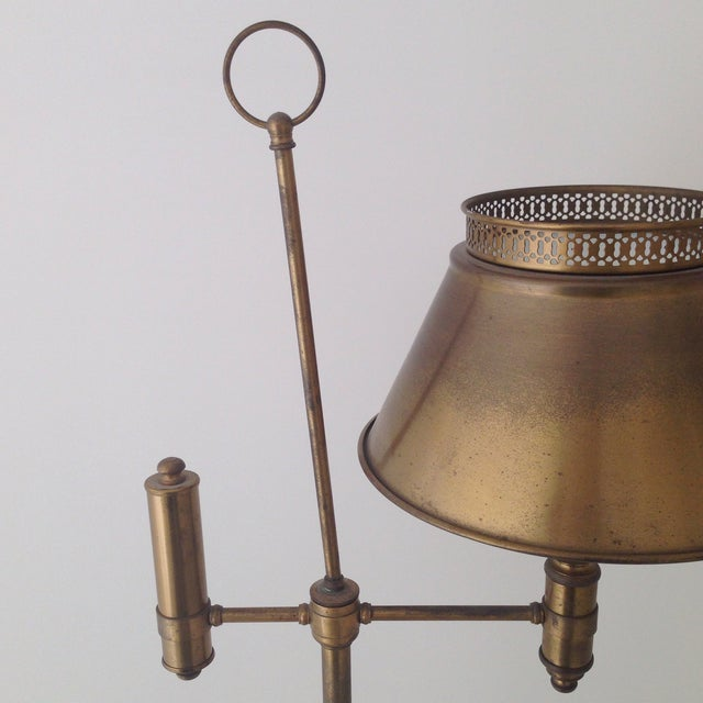 Aged Brass Tole Floor Lamp - Image 9 of 11