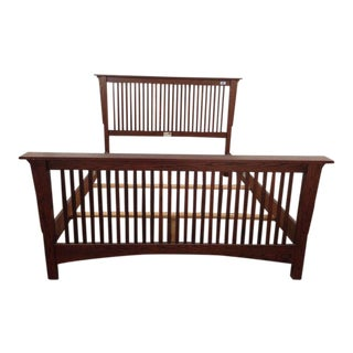 Nadeau Contemporary Mission Style Carved Oak Queen Bed