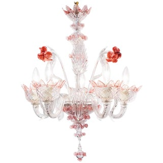 Murano Pink Rose and Crystal Glass Chandelier