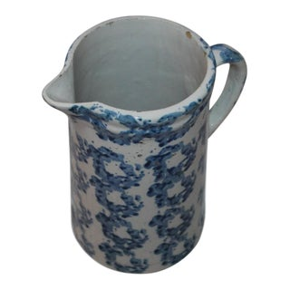 19th Century Pattern Spongeware Pitcher