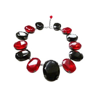 Yves Saint Laurent Necklace Blood Red 1980's YSL