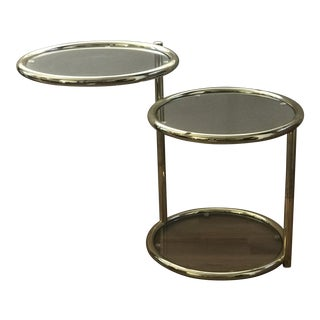 1970's Mod Swivel Brass & Glass Side Table