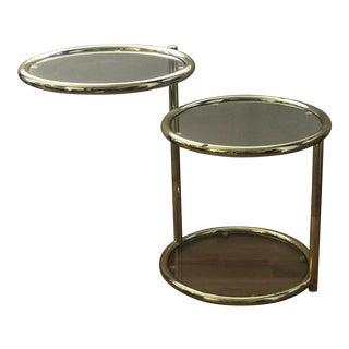 1970's Mod Swivel Brass & Glass Side Table