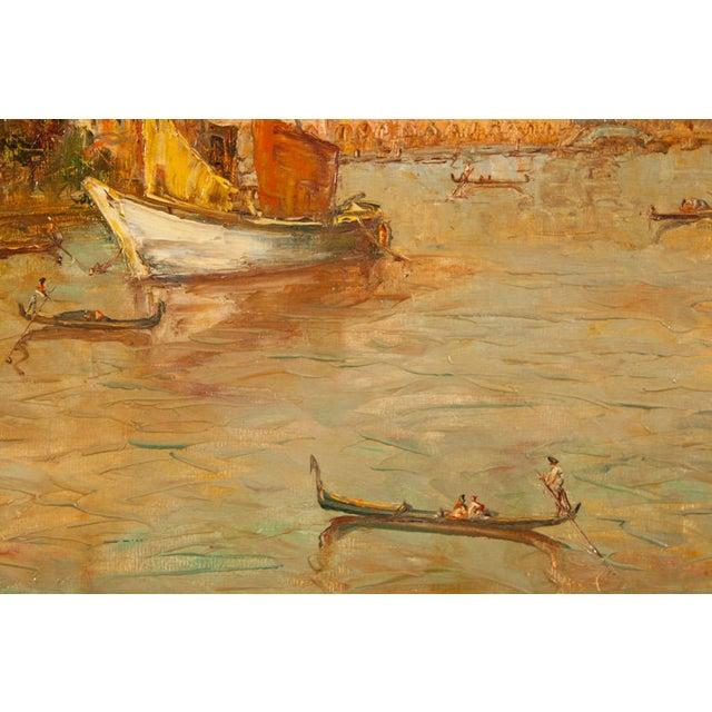 Oil Painting of Venice Harbor by T.L. Novaretti - Image 9 of 9