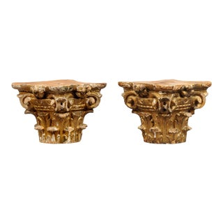 Antique Georgian Pair Gilded Capitals, Circa 1770