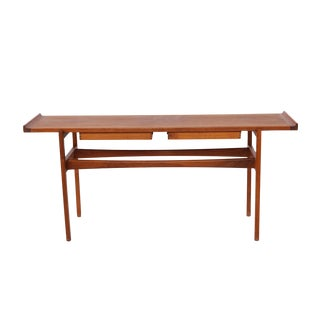 Early Jens Risom Solid Teak Console or Sofa Table
