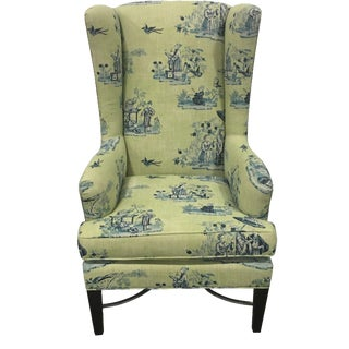 Chinoiserie-Style Wingback Chair