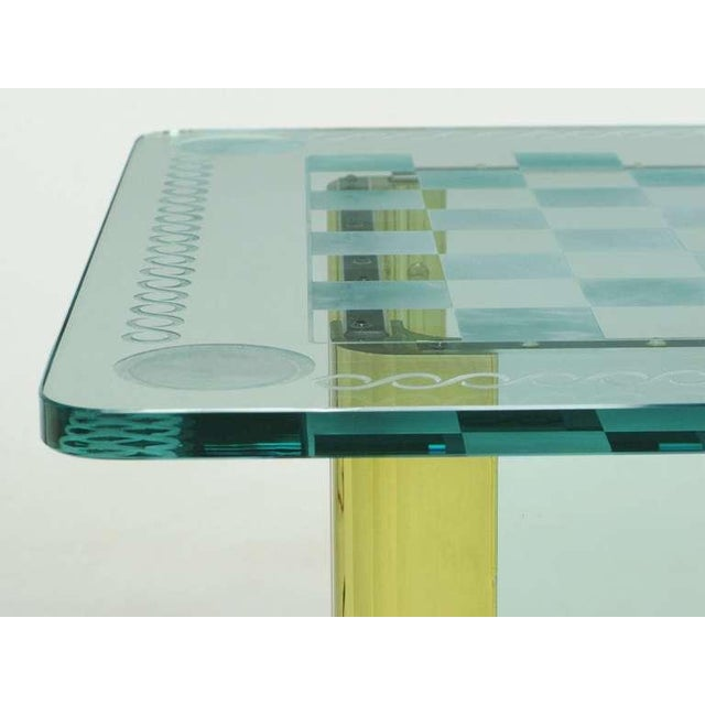 Elegant Etched Glass Game Table In The Style Of Pace Collection - Image 7 of 8
