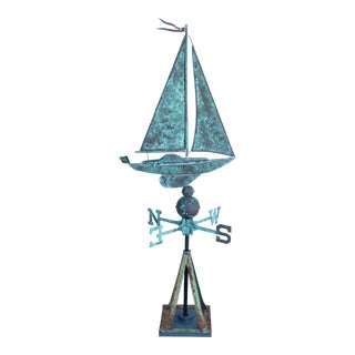 Vintage Copper Sailboat Weathervane With Stand