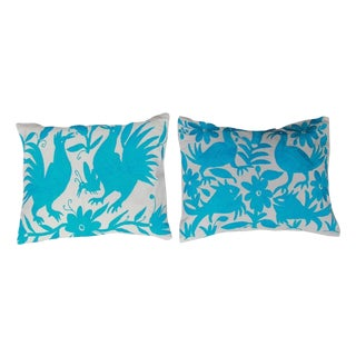Boho Chic Turquoise Blue Tenango Pillows - A Pair