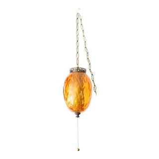 Vintage Hollywood Regency Amber Swag Pendant Lamp
