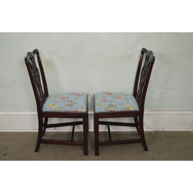 Image of Councill Craftsman Solid Mahogany Chippendale Style Dining Chairs - Set of 8