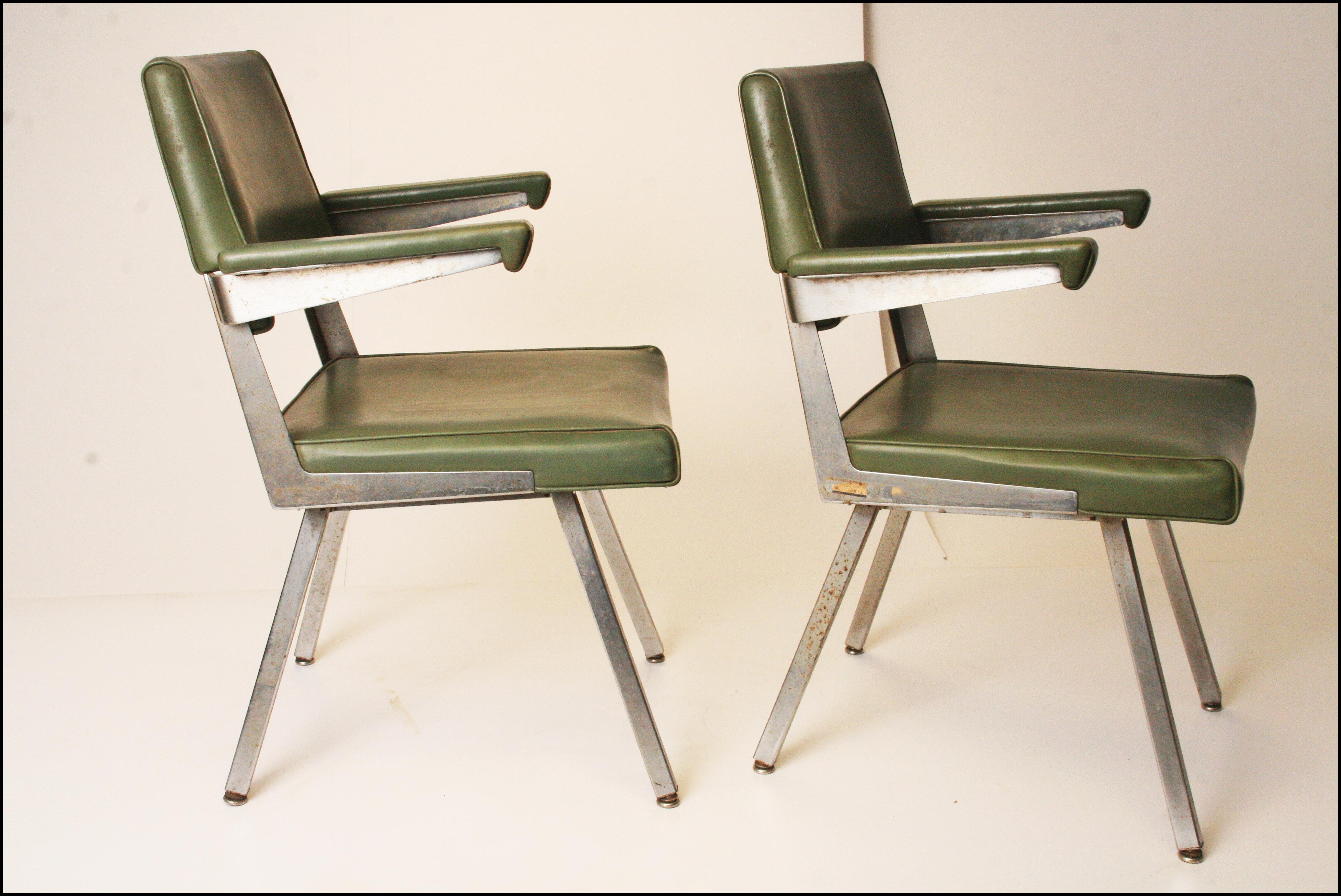 Exceptional Harter Mid Century Modern Industrial Office Chairs  A Pair   Image 4 Of 11