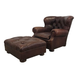 Ralph Lauren Leather Club Chair & Ottoman Set