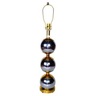 Paul Evans Style Chrome & Brass Table Lamp