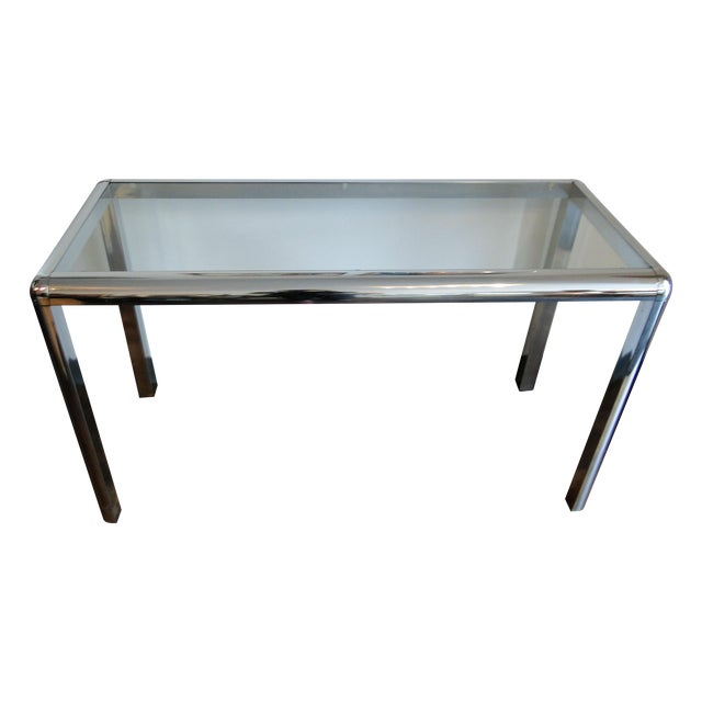 Mid Century Chrome and Glass Console Table - Image 1 of 8