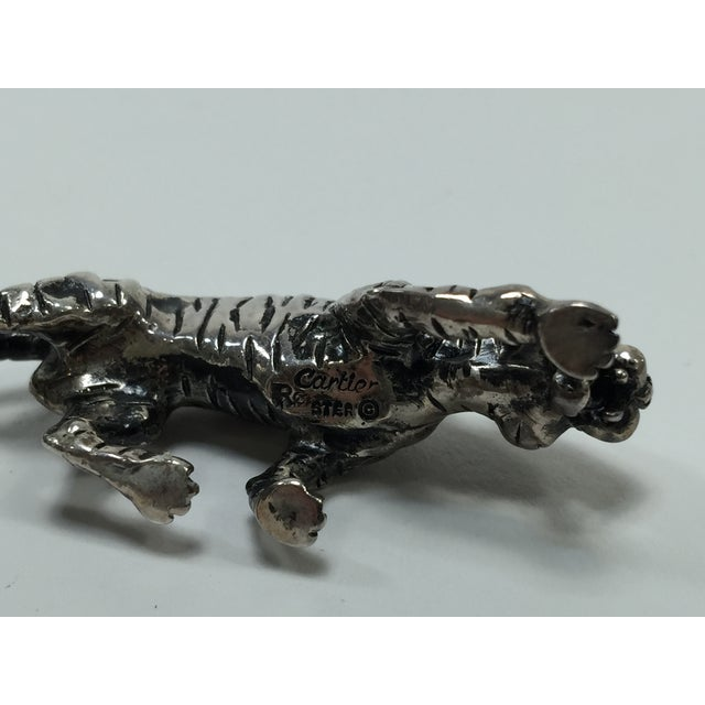 Image of Cartier Sterling Silver Tiger Sculpture
