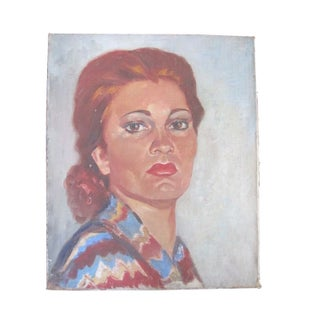 1940's French Portrait of Bold Red-Haired Woman