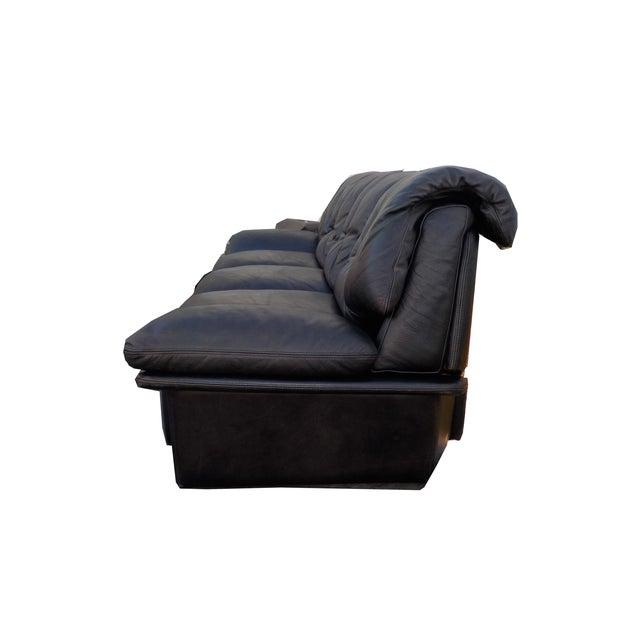 Mid-Century Minimalist Black Leather Italian Sofa - Image 3 of 9