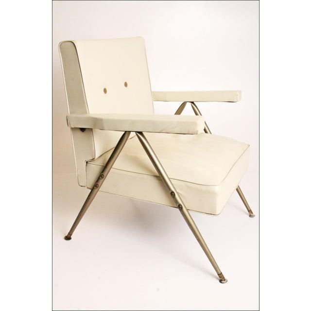 Mid Century Modern White Vinyl Accent Chair Chairish
