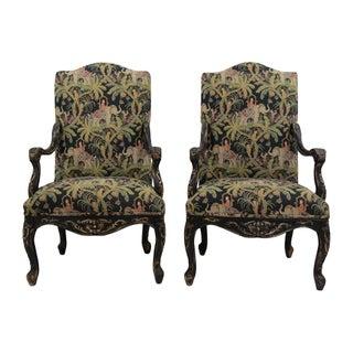 Safari-Themed French Armchairs - Pair